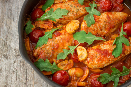 braised chicken in Italian with mushrooms and tomatoes