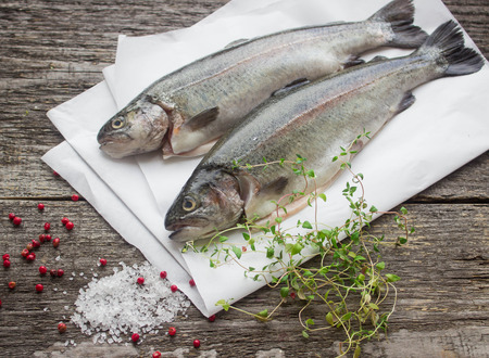 rainbow trout gratin with thyme and pink pepper Stockfoto