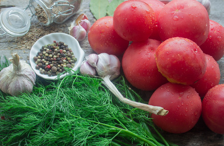 dill seed: tomatoes and spices : dill, garlic, dill seed, salt and pepper
