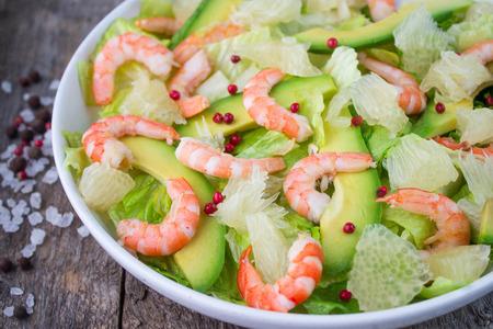salad with shrimp, avocado and grapefruit Stock Photo - 35265150