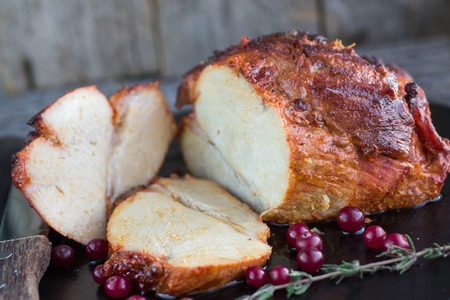 baked meat: baked meat with cranberries and thyme