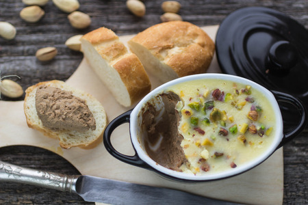pistachios: pate chicken liver with pistachios Stock Photo