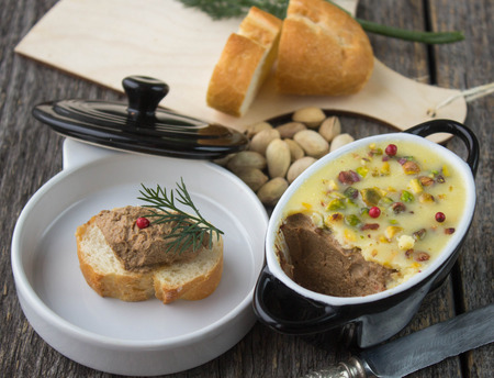 pate: pate chicken liver with pistachios Stock Photo