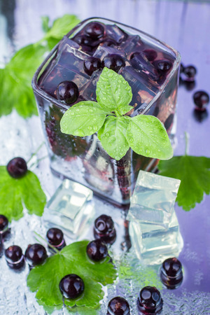 blackcurrant: A refreshing summer drink blackcurrant Stock Photo