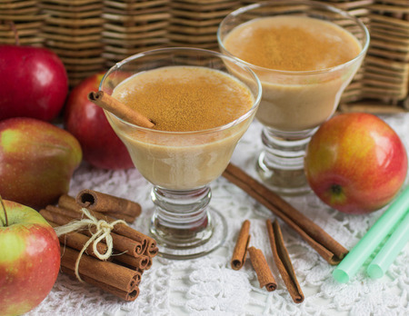 yellow to drink: Apple smoothie with cinnamon. Diet drink. Healthy nutrition. Soft focus