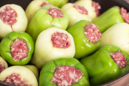 greek pot: Bell pepper stuffed with meat and rice.  Shallow depth of field