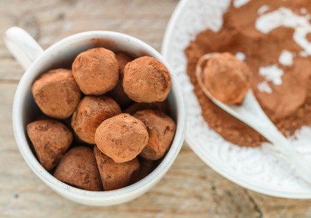 Homemade chocolate truffles with cocoa powder on a white plate. Selective focus Stockfoto