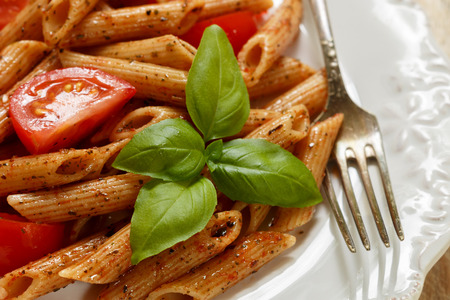 seasonings: Whole wheat pasta with tomatoes, Basil, olive oil and seasonings