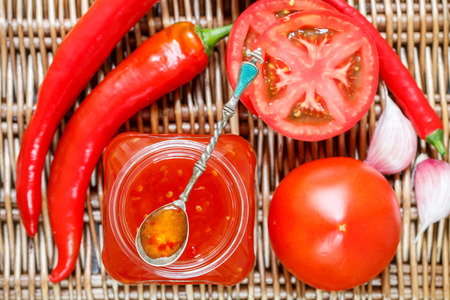 chutney: Spicy sauce of tomatoes and pepper for meat and pasta. Ketchup. Jam. Chutney. Confiture