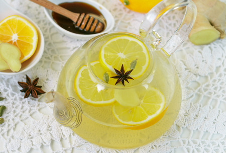 tea hot drink: Citrus tea with ginger, honey and spices. Hot vitamin drink