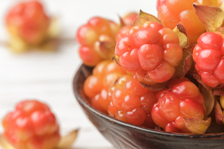 chicouté: Fresh organic Berry cloudberries on light wooden background. Macro. Selective focus