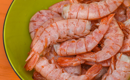 Shrimps. Fresh tiger prawns with spices for grilling close up. Selective focus