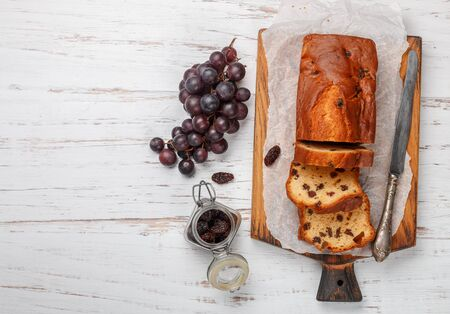 Homemade freshly baked cake loaf with raisins. Stock Photo