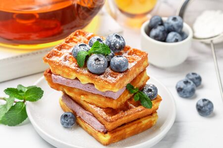 Traditional homemade Belgian (Viennese) waffles with fresh berries, blueberry souffle and powdered sugar. Delicious breakfast. Selective focus Фото со стока