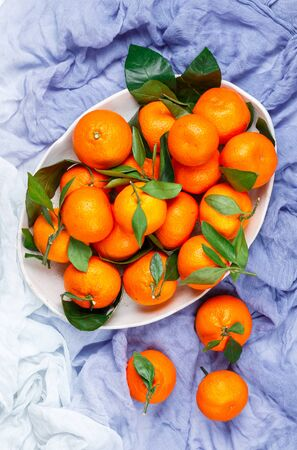 Fresh organic citrus mandarin oranges fruit (tangerines, clementines) with leaves in a light dish on a blue background close-up. Selective focus, top view and copy space Фото со стока