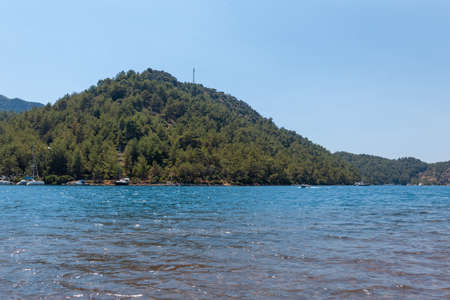 A large body of water with boats and a hill covered with trees
