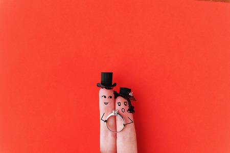 Happy finger couple in love