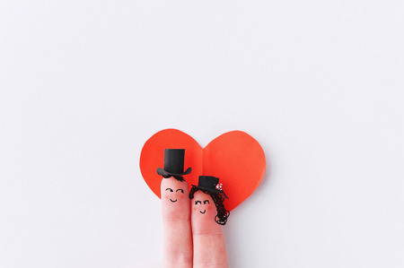 furnish: Happy finger couple in love