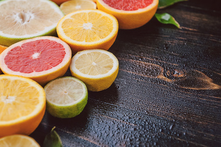 Citrus fruits (orange, lemon, grapefruit, mandarin, lime) Stock Photo