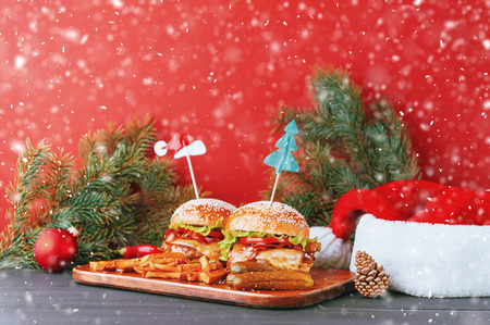 delicious homemade Christmas burgers with a juicy veal cutlet