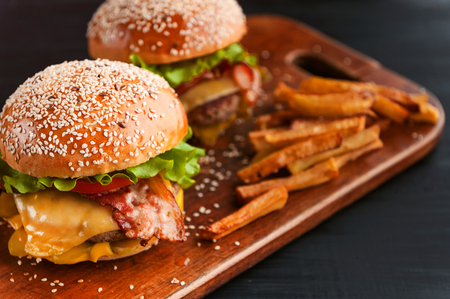 delicious homemade burgers with a juicy veal cutlet Stock Photo
