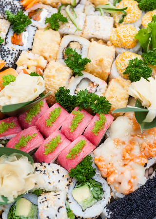 set of real classic Japanese sushi. on a wooden surface