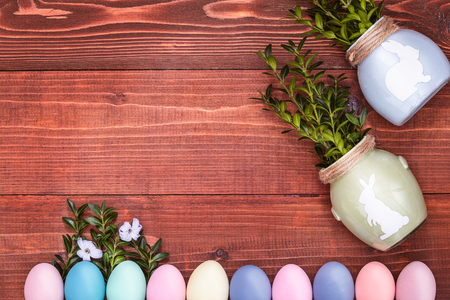 a festive Easter composition. view from above. concept of the spring and the feast of the Passover Stock Photo