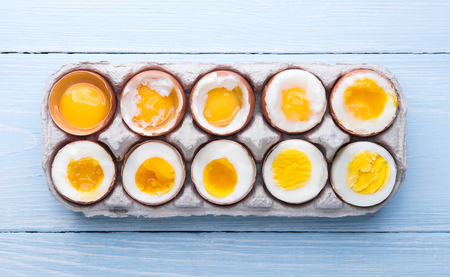 eggs in varying degrees of availability depending on the time of boiling eggs