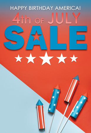 banner sale in honor of Independence Day celebration on July 4 in America