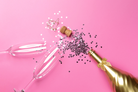 concept of opening an expensive golden champagne bottle dedicated to the celebration. Stock fotó