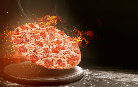 fast food pizza on fire. high quality fast food concept
