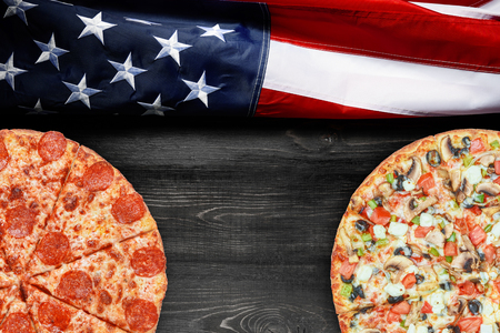 American flag and pizza with place for text