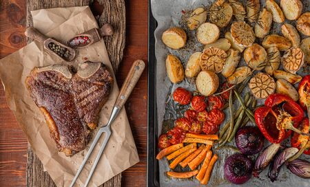 tender and juicy steak on the bone grilled next to baked and grilled vegetables, the concept of tasty and healthy nutrition