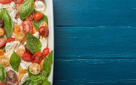 classic caprese salad, vegetarian cuisine wholesome food Imagens