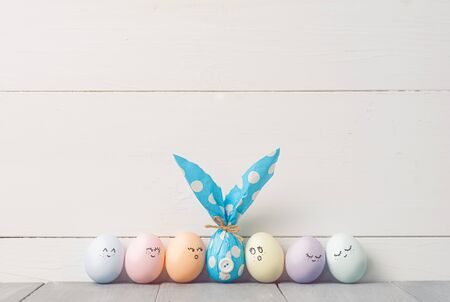 Easter eggs and easter gift. easter gifts concept. place for text