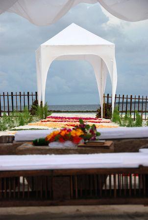 View on wedding altar on the beach, Maldives Stock Photo
