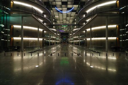 Entrance Area to the Modern Office Building in the night Stock Photo