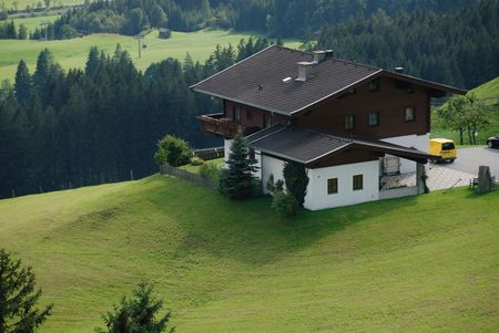Top view with chalet in the mountain Stock Photo - 3846958