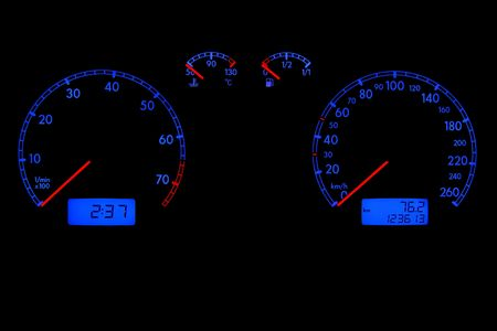 Car dashboard with speedometer and tachometer in the night Stock Photo - 3846742