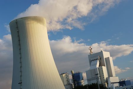 Cooling Towers of a power station against sky Stock Photo