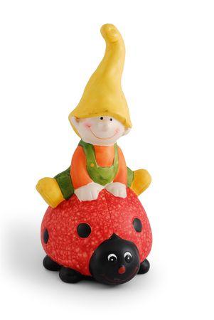 nain de jardin: Friendly souriant Garden Gnome sur fond blanc