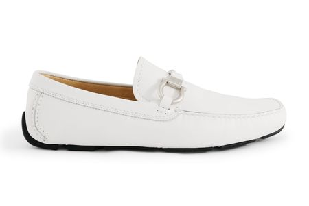 moccasins: A white modern moccasin isolated on white