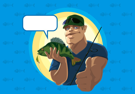 bait: Successful fishermen shows thats everything is good. Vector illustration.