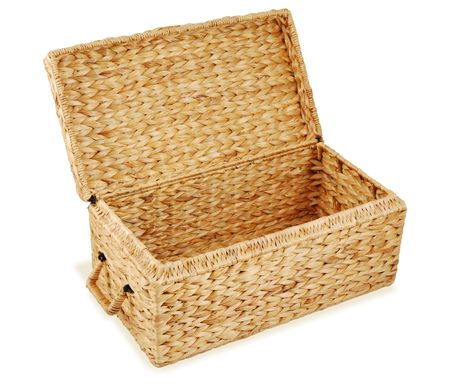 Open wicker chest. Isolated on white background.
