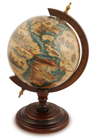 maps globes: Antique globe from a red wood. Isolated on white.