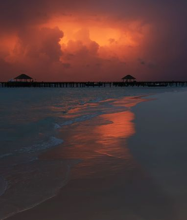 Fantastic color of sky before a storm on the sea. photo