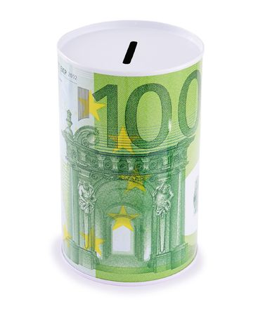 Moneybox with euro sign. Isolated on white background.