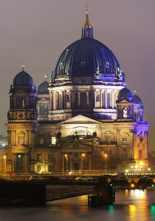 View of the Berliner Dom illuminated in the night. Stock Photo