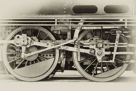 Old style black and white image of steam engine wheels Stock Photo - 4584262