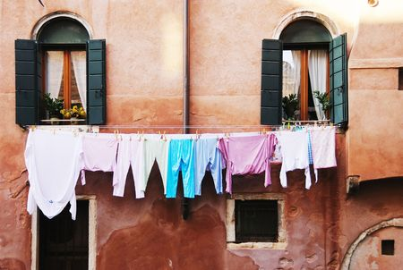 Shot of typical clothes line in italian district.